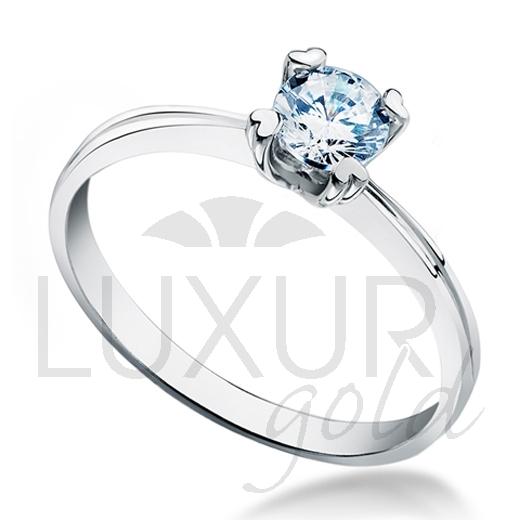 Luxusní zásnubní prsten z bílého zlata osazený velkým modrým zirkonem 5mm 2,1gr (1860267-0-51-1)