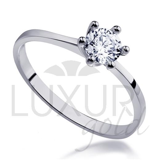 Mohutný zásnubní prsten z bílého zlata osazený velkým zirkonem 585/1,82 gr (1860265-0-50-1)