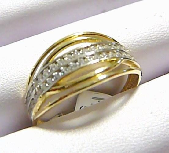 Mohutný pevný silný zlatý prsten posetý zirkony 44 ks 585/2,67 gr vel. 61 P258
