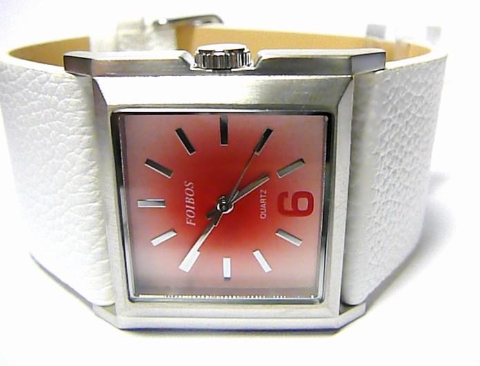Luxusní bílé hranaté ocelové dámské hodinky Foibos 2564 s růžovo-červeným čísel.