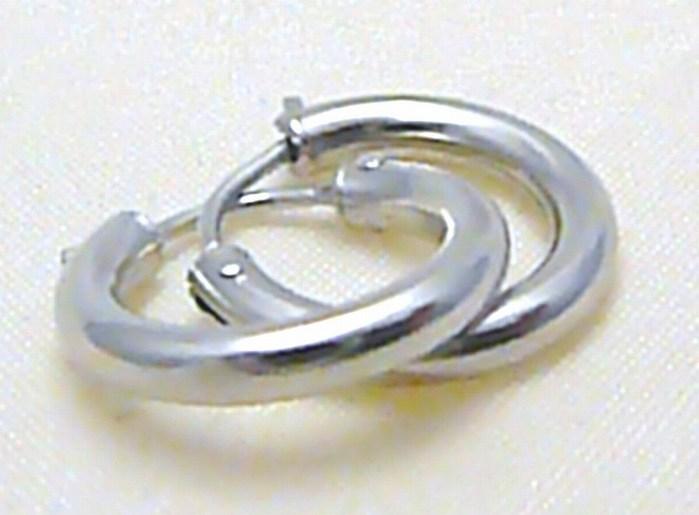 Zlaté silné kruhy z bílého zlata - průměr 15mm 585/1,0gr P294