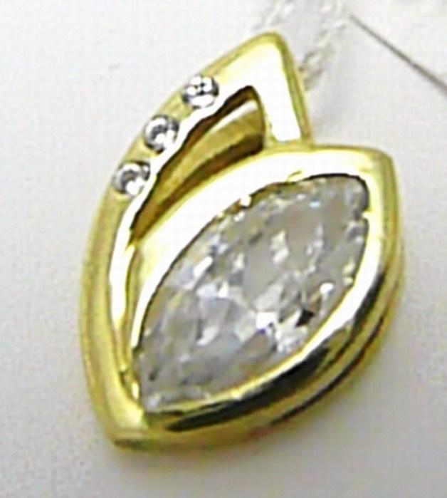 Mohutný velký zlatý přívěsek se zirkony 585/1,55 gr P311