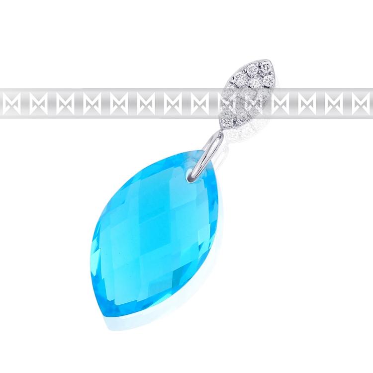 Diamantový zlatý přívěsek s diamanty 13ks a světle modrým velkým topazem 4.20ct