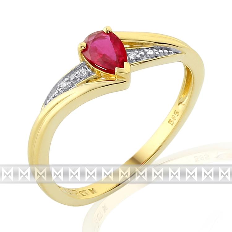 Luxusni Zasnubni Zlaty Prsten S Velkym Cervenym Pravym Rubinem Slza