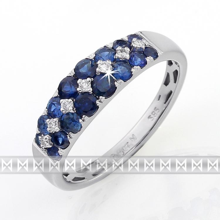Luxusní diamantový prsten z bílého zlata s diamanty a modrými safíry