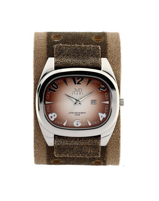 1596f88562a Dámské elegantní hranaté hnědé hodinky JVD steel J1071.2