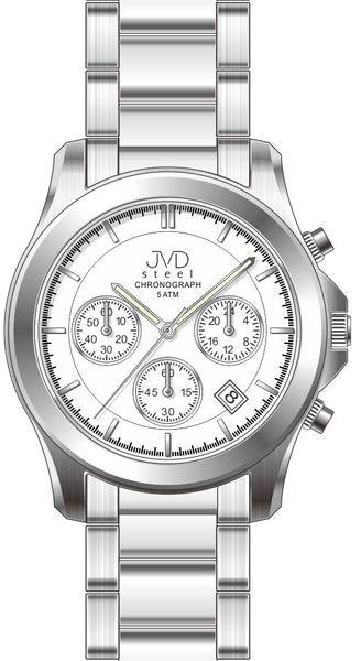 Luxusní ocelové voděodolné hodinky JVD steel J1082.1 - chronograph a stopky 5ATM