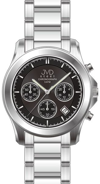 Luxusní ocelové voděodolné hodinky JVD steel J1082.3 - chronograph a stopky 5ATM