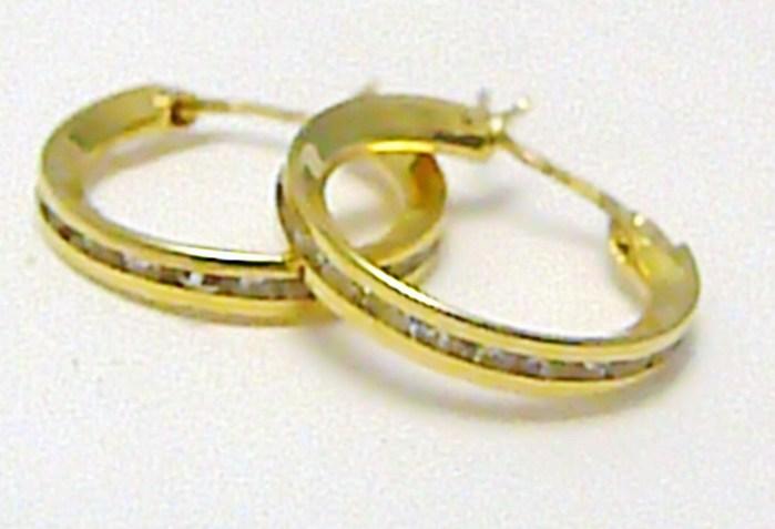 Zlaté kruhy - náušnice poseté zirkony - průměr 15 mm 585/1,1 gr P323
