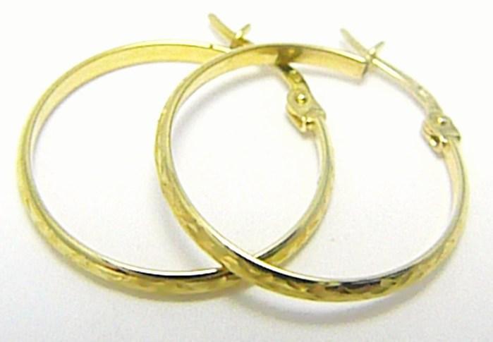 Velké zlaté kruhy - zlaté kroužky s gravírováním 20mm 585/1,02 gr P324