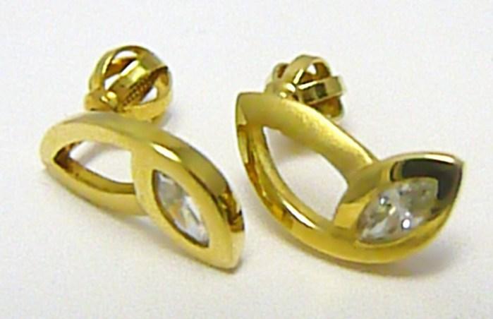 Zlaté dámské náušnice na šroubek se zirkony 585/1,95 gr Z052