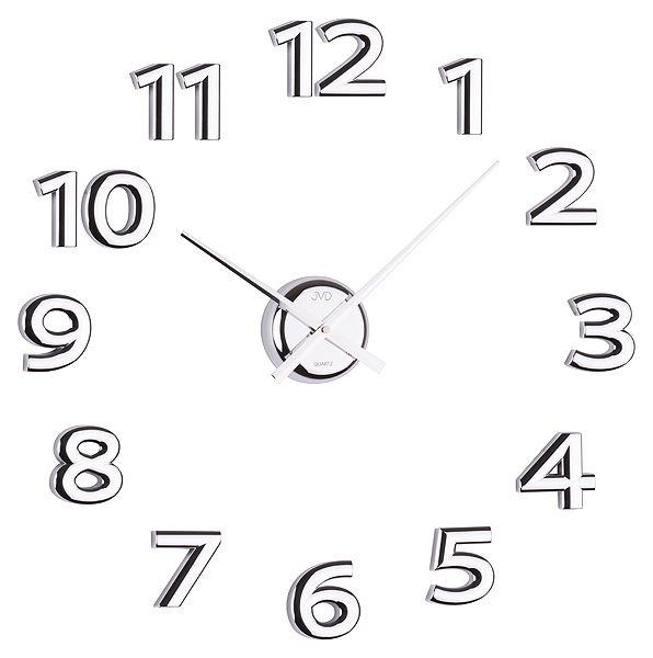 Stříbrné exkluzivní luxusní nástěnné nalepovací hodiny JVD HB12