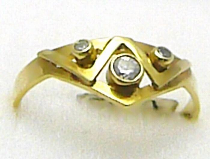 Velký silný dámský zlatý prstýnek s zirkony 585/1,50 gr vel. 53 P340
