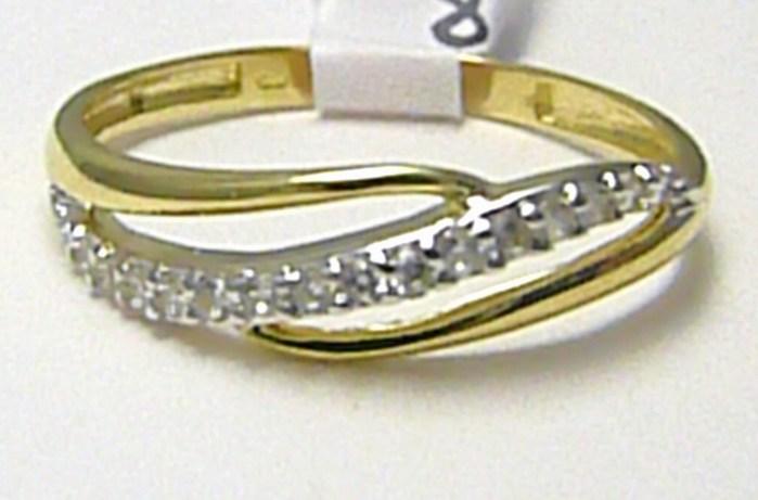 Luxusní mohutný zlatý prsten posetý zirkony 15 ks 585/1,31 gr vel.55 H249