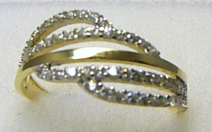 Luxusní mohutný zlatý prsten posetý zirkony 60 ks 585/1,89 gr vel. 57 H250