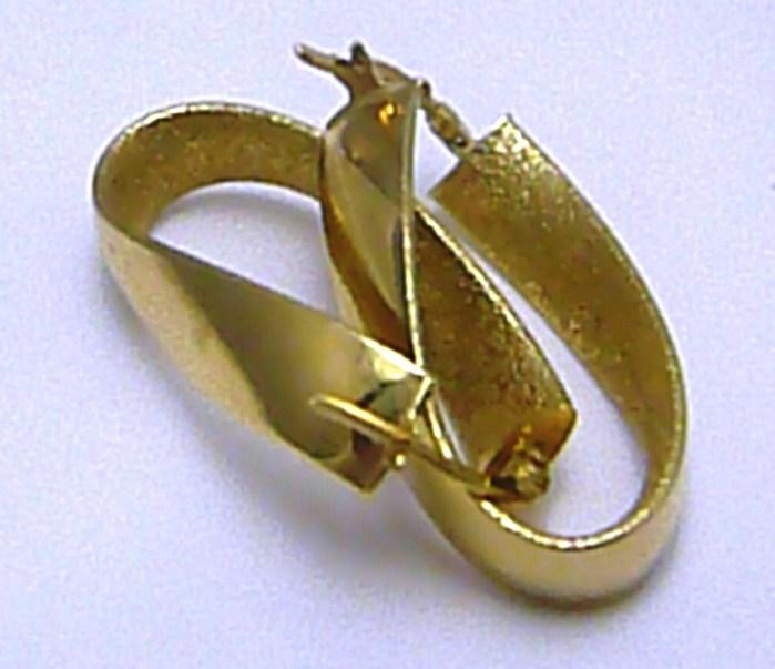 Luxusní mohutné zlaté oválené kruhy s matné/lesklé zlato náušnice 585/2,66g H262