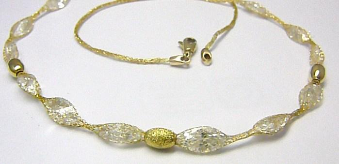 Mohutý luxusní zlatý náhrdelník s velkými křišťály v zlaté síťce 585/6,58gr H274