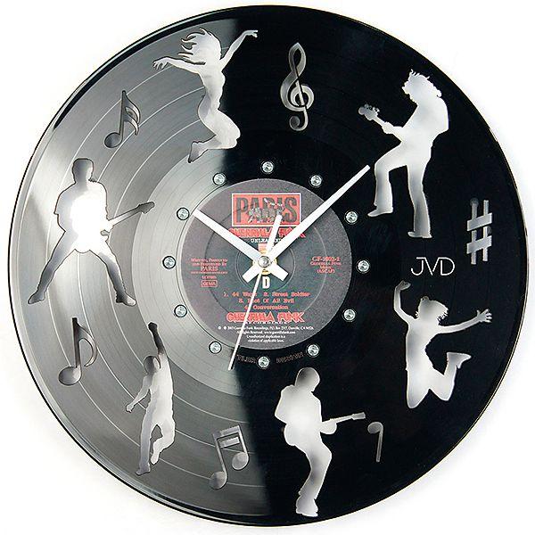 Nástěnné hodiny design JVD HJ62 ze skutečné gramodesky (motiv kapely)
