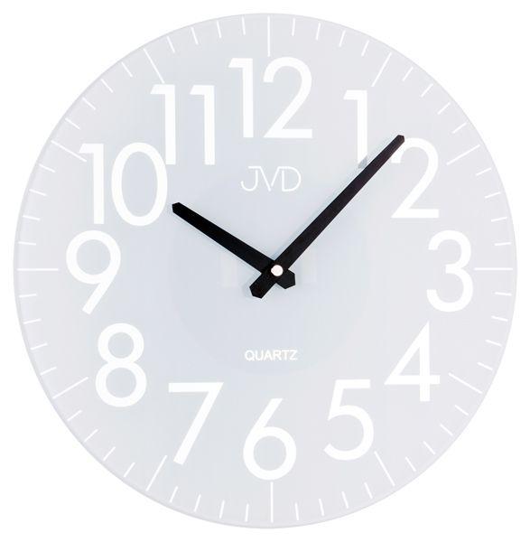Bílé skleněné designové hodiny JVD quartz HA13.2
