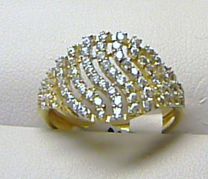 Luxusní mohutný velký zlatý prsten posetý zirkony (35 ks) 585/1,65gr vel.51 H279