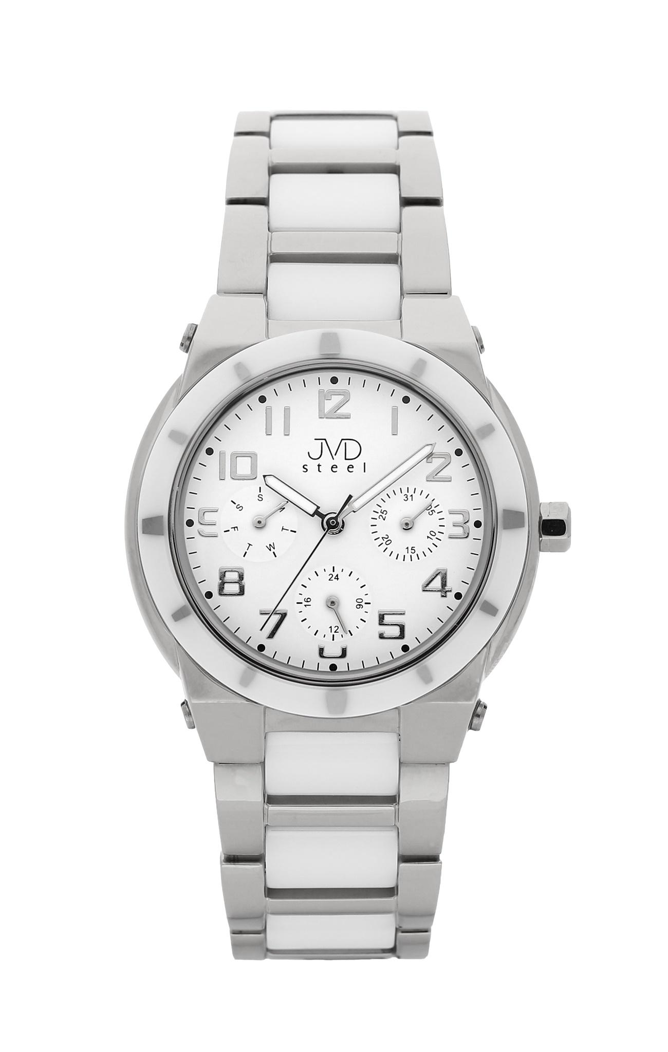 Dámský chronograf - keramické hodinky JVD steel J4131.1 s keramickou lunetou