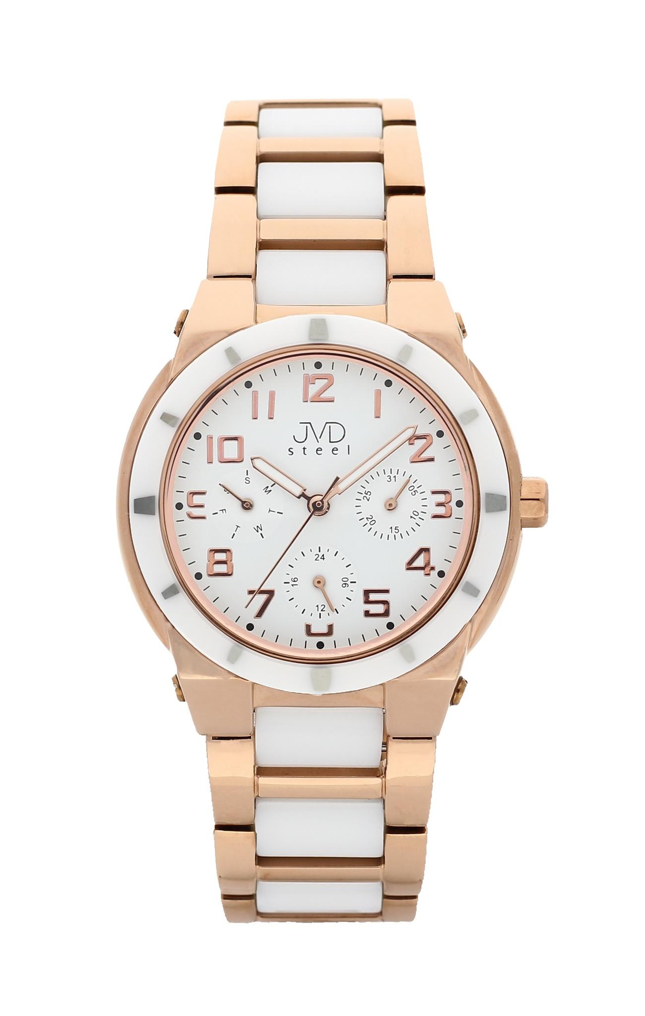 Dámský chronograf - keramické hodinky JVD steel J4131.2 s keramickou lunetou