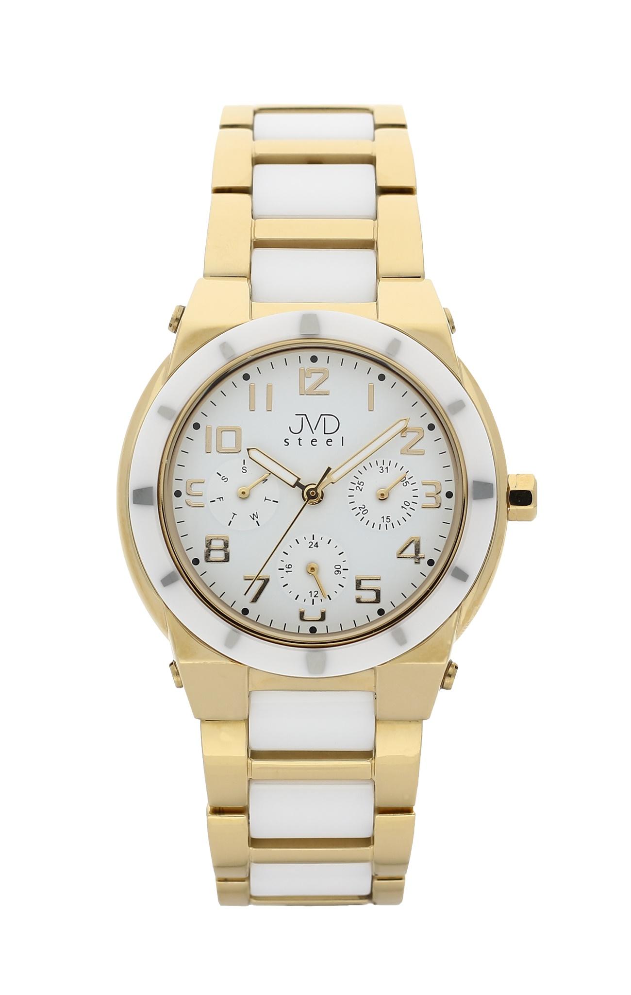 Dámský chronograf - keramické hodinky JVD steel J4131.3 s keramickou lunetou