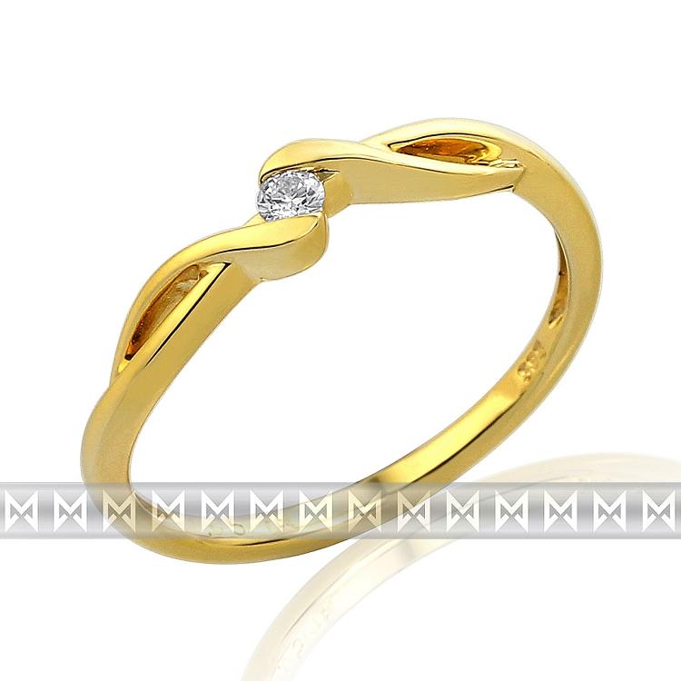 Zásnubní diamantový prsten ze žlutého zlata 1ks 0,05ct