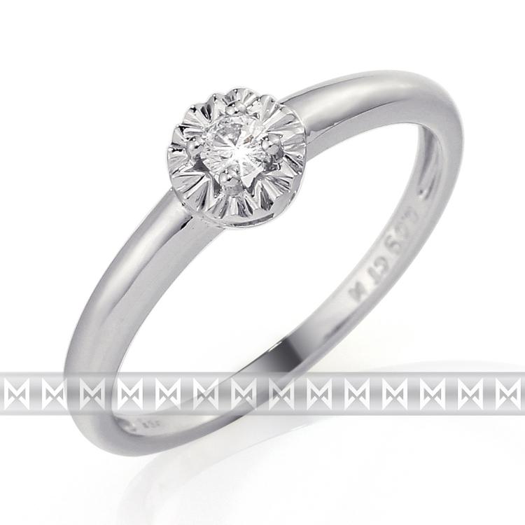 Zásnubní diamantový prsten z bílého zlata s velkým diamantem 1ks 0,08ct