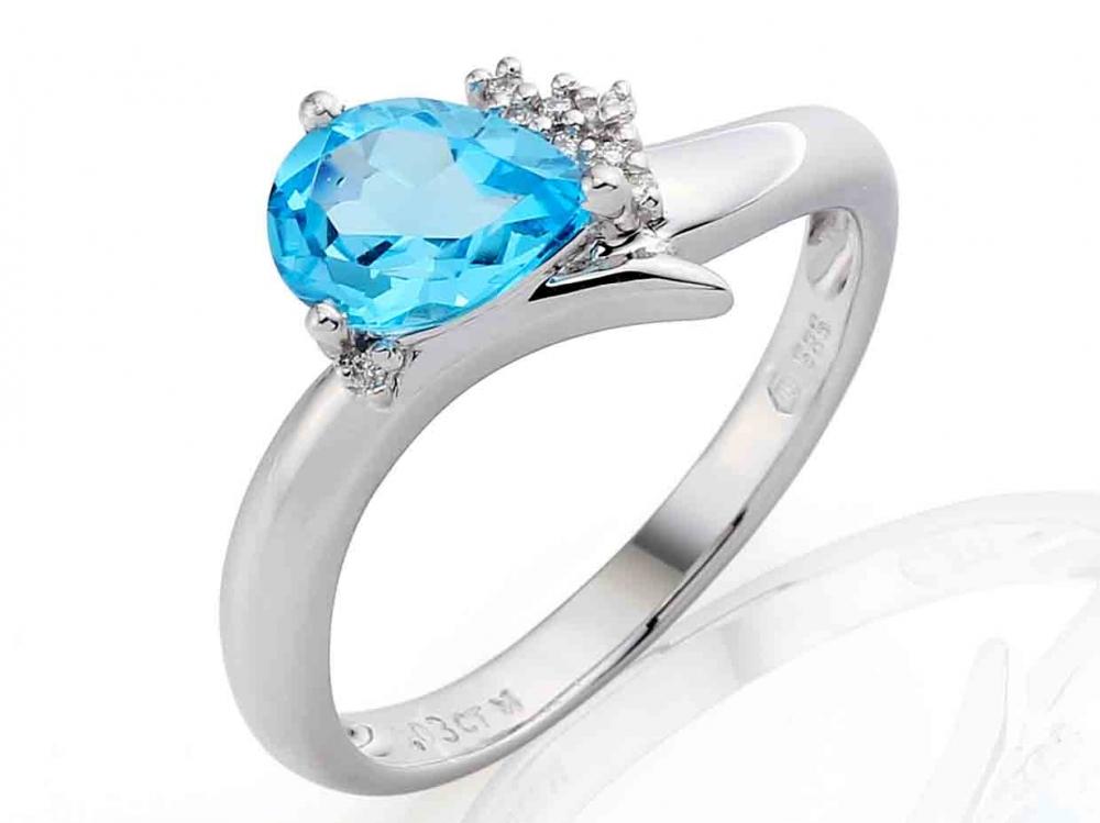 Luxusní diamantový prsten s pravým modrým topazem 1ks - 1,25ct