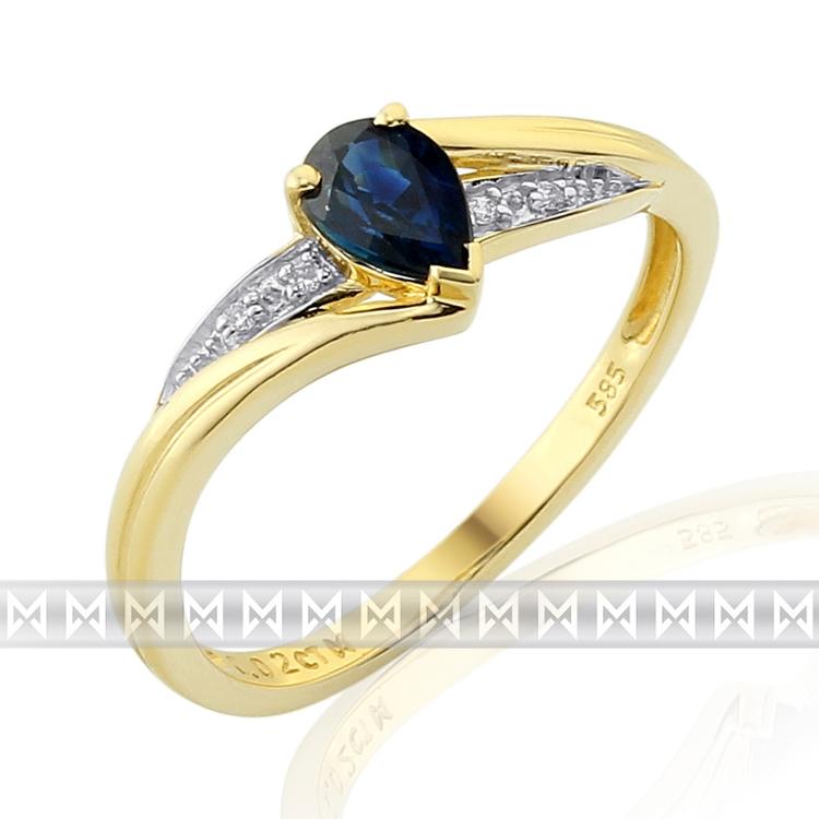 Luxusní diamantový zásnubní prsten s modrým safírem 1ks 0,62ct