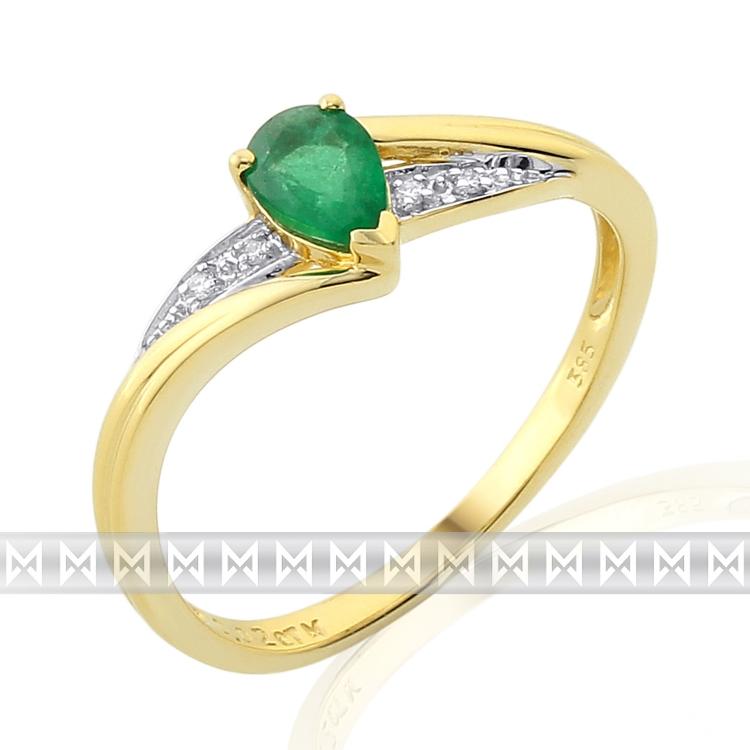 Luxusní diamantový prstýnek zásubní se zeleným smaragdem 1ks 0,41ct