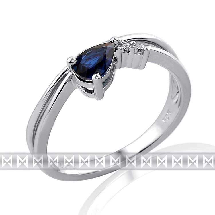 Diamantový prsten se safírem - 1ks 0,56ct - modrý safír 3860129-0-53-92 (3860129-0-53-92)