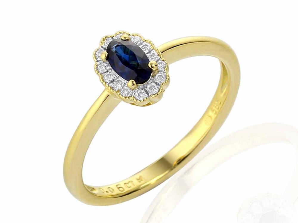 Diamantový zlatý prsten alá Kate Middleton s pravým modrým safírem (3811083-5-52-92)
