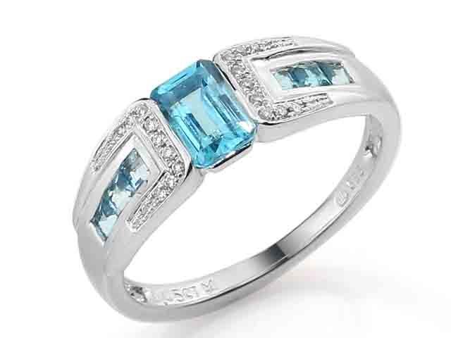 Prsten s diamantem, bílé zlato briliant, modrý topaz (blue topaz) 3861721-0-54-