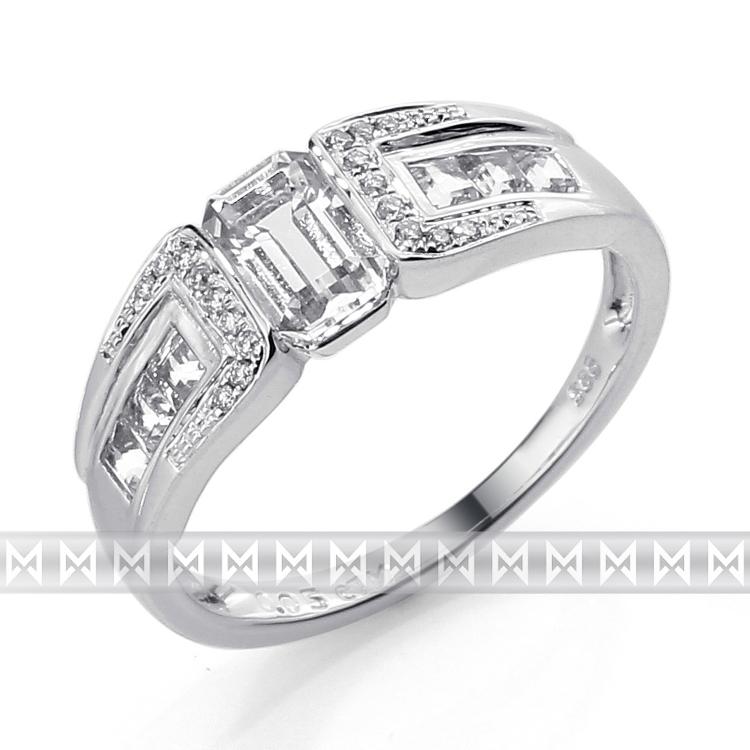 Prsten s diamantem, bílé zlato briliant, černý briliant 3861723-0-53-97