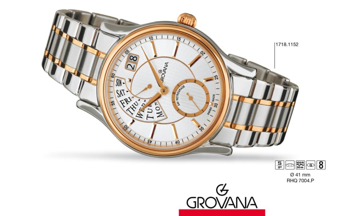 Luxusní retro švýcarské značkové hodinky Grovana RETROGRADE 1718.1152