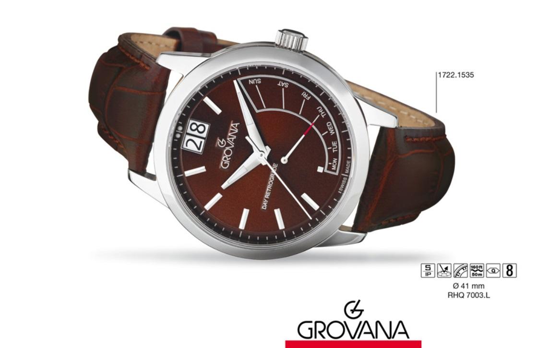 Luxusní retro švýcarské značkové hodinky Grovana RETROGRADE 1722.1535