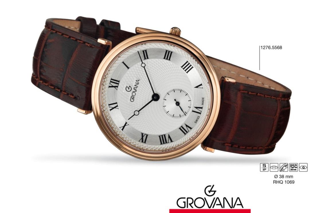 Luxusní retro švýcarské značkové hodinky Grovana TRADITIONAL 1276.5568