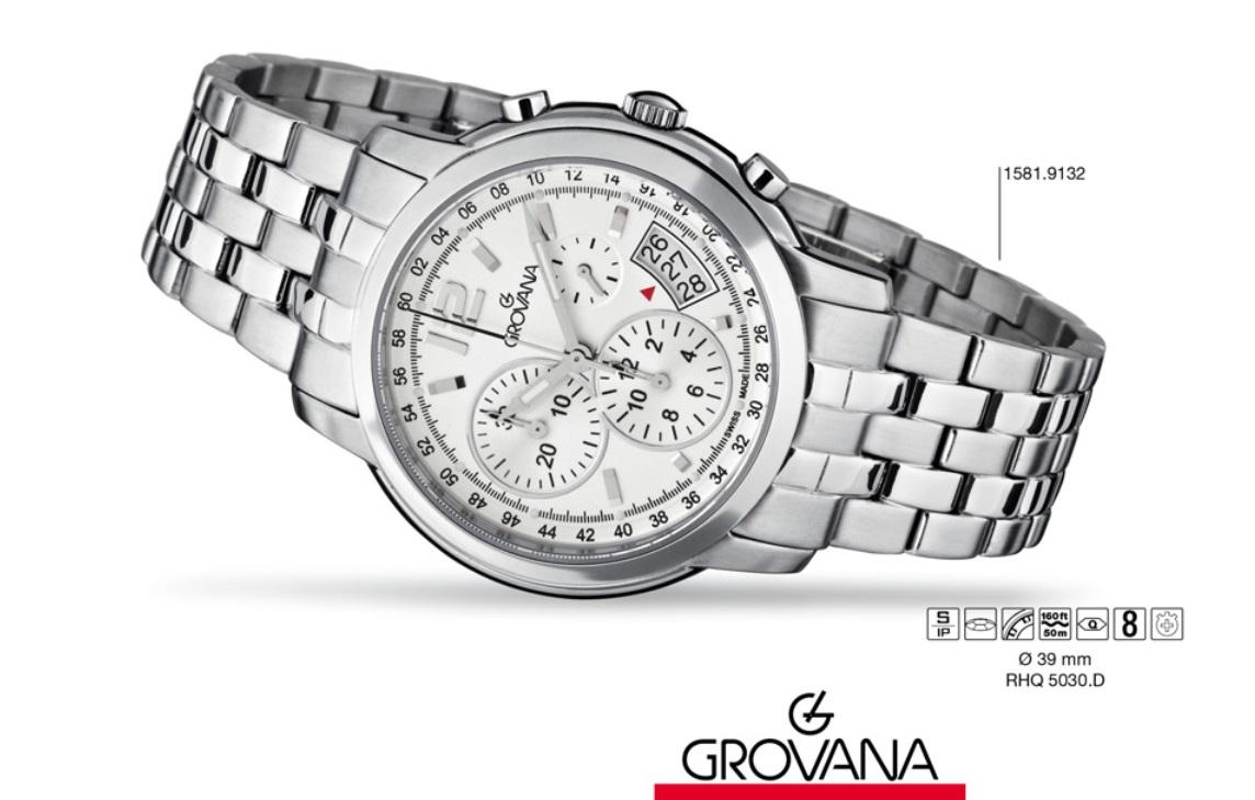 Luxusní švýcarské značkové hodinky Grovana chronograf Swiss 1581.9132