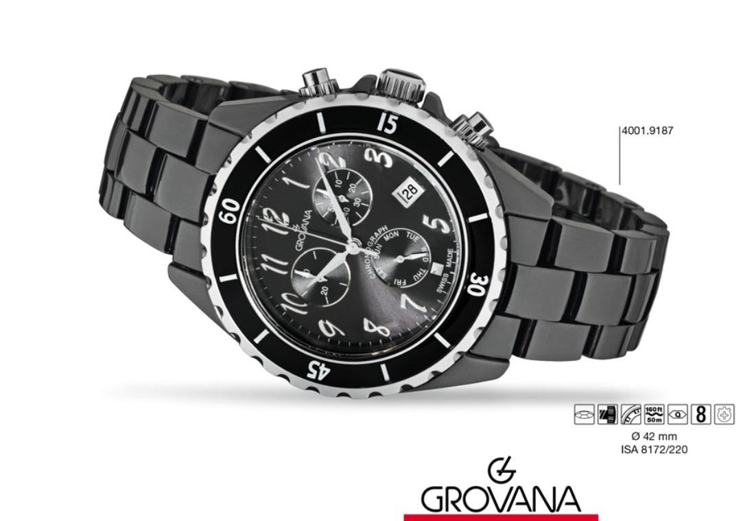 Švýcarské keramické hodinky Grovana 4001.9187 - chronograf 5ATM UNISEX (4001.9187 - POŠTOVNÉ ZDARMA!!!)