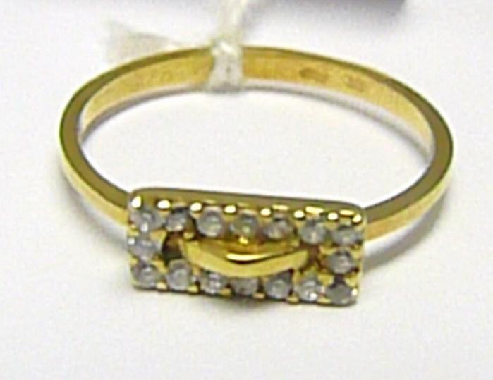 Dámský zlatý prstýnek ze žlutého zlata s 16ti zirkony 585/1,50 gr vel. 49 P366