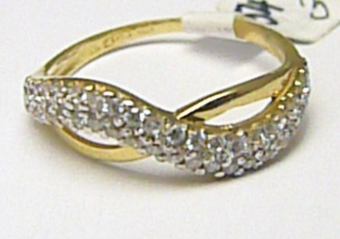 Mohutný šperkový zlatý prsten posetý zirkony 44 ks 585/2,08 gr vel. 54 H313