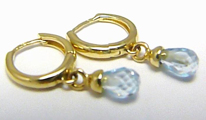 Dámské visací zlaté náušnice s modrými topazy 585/2,2 gr H314