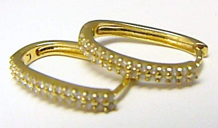 Zlaté oválné náušnice - oválky - kruhy se zirkony 56 ks 585/2,02 gr H317