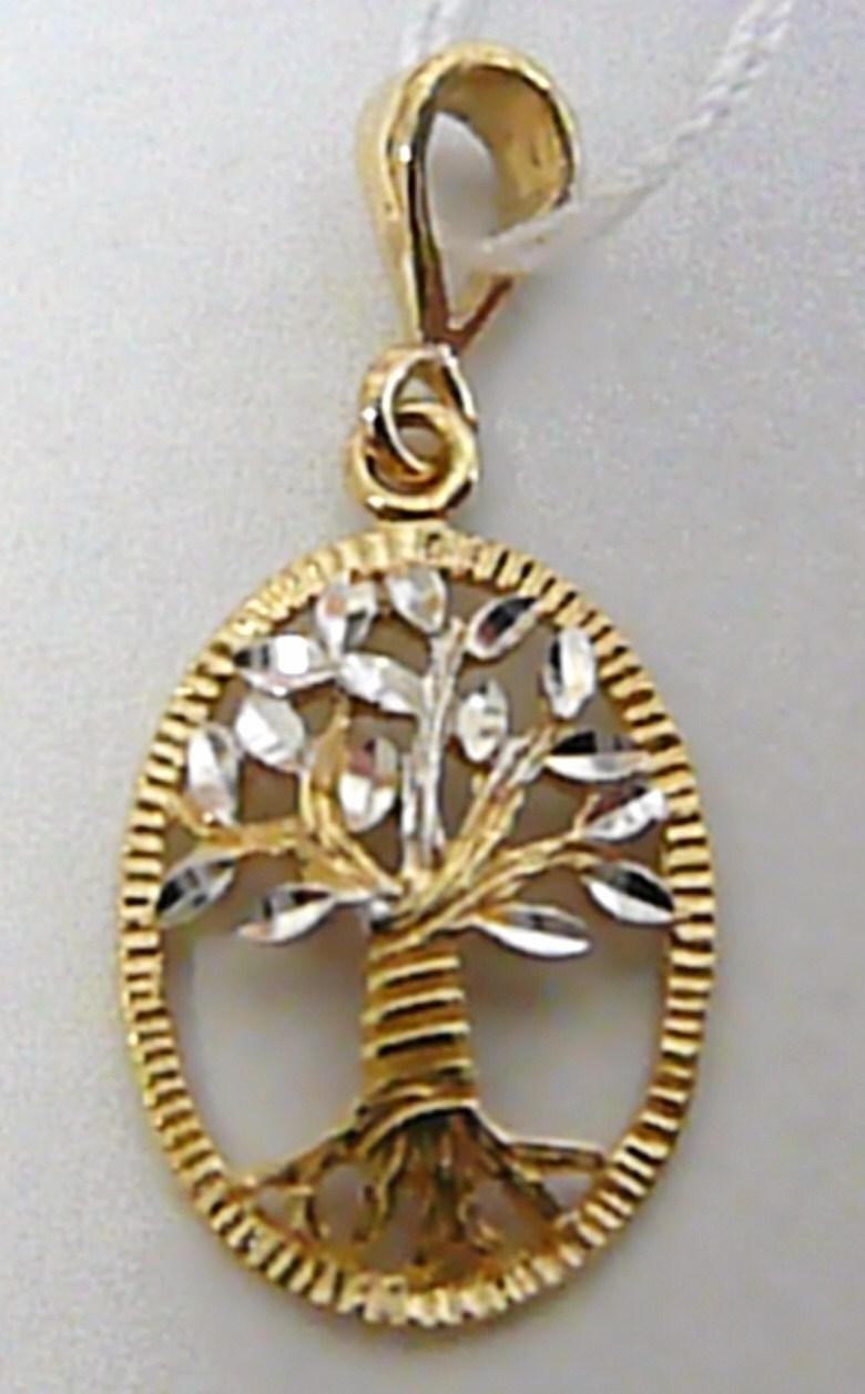 Zlatý přívěsek v kombinaci zlata - strom života 585/1,02gr H328