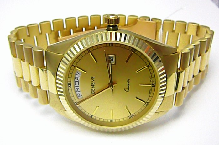 Luxusní elegantní pánské zlaté švýcarské hodinky 585/77,70gr GENEVE 3ATM T153