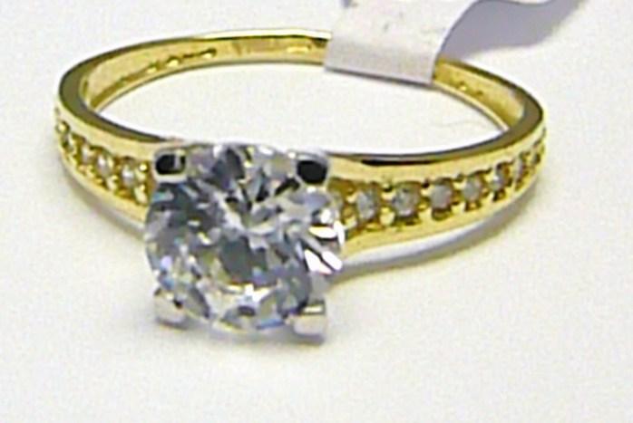 04a5ce754 Luxusní mohutný zásnubní prsten s velkým zirkonem 585/1,79 gr vel. 55 H355