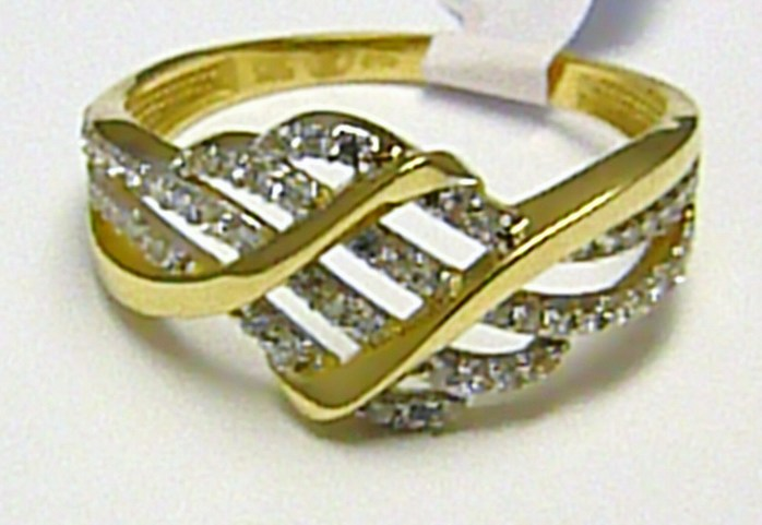 Luxusní mohutný velký zlatý prsten se zirkony 58 ks 585/2,24 gr vel. 58 H358