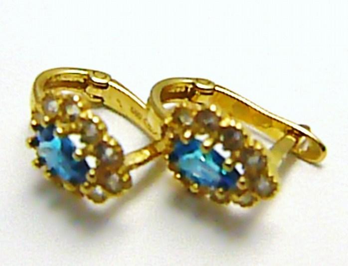 Dámské zlaté náušnice se zirkony 20 ks a světle modrými topazy 585/1,37 gr H378